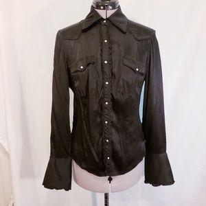 bebe  black long sleeve blouse